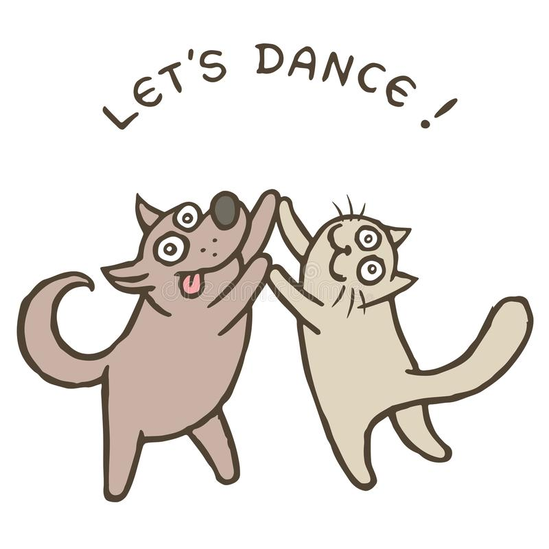Cartoon dog and cat dancers. vector illustration. Cartoon dog Kik and cat Tik dancers. Vector illustration. Best friends. Together forever. Cute pets characters vector illustration