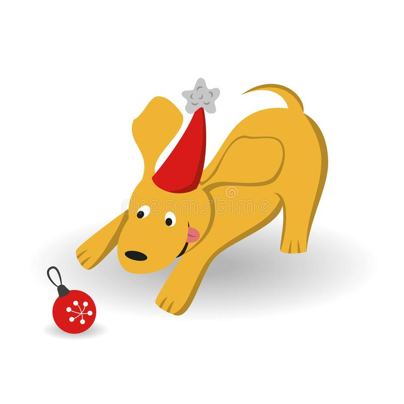Cartoon dog with christmas tree toy on the white background. royalty free illustration