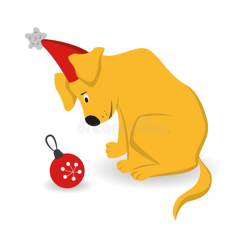 Cartoon dog with christmas tree toy on the white background. stock illustration