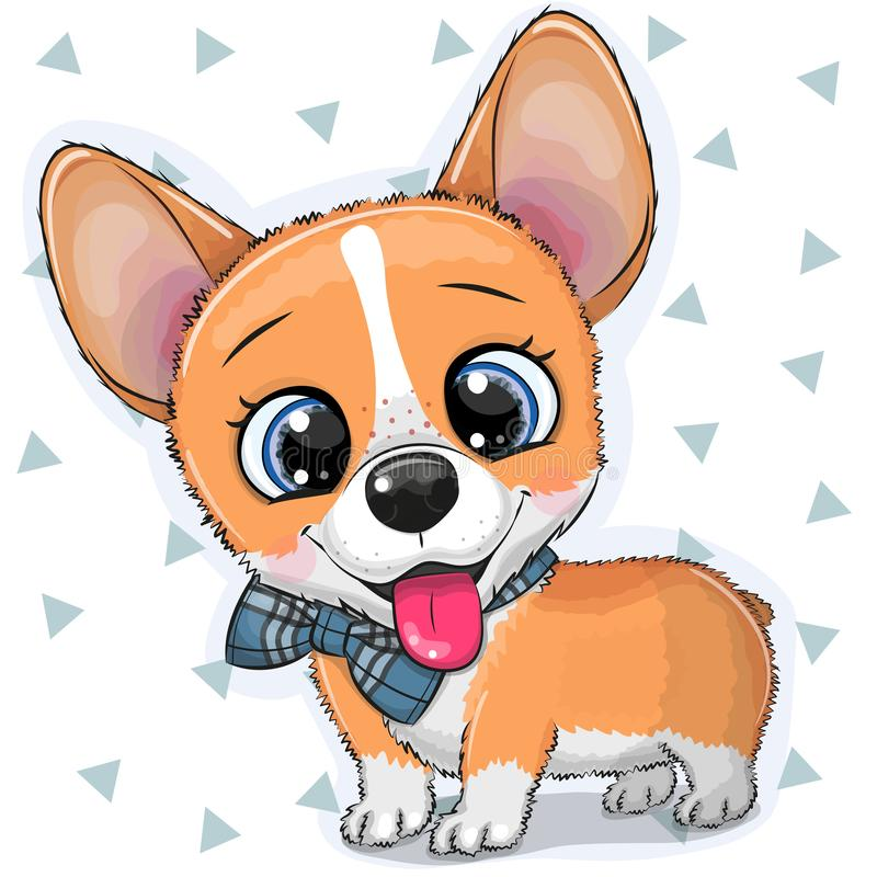 Free Cartoon Dog Corgi With A Bowtie Royalty Free Stock Image - 144502856