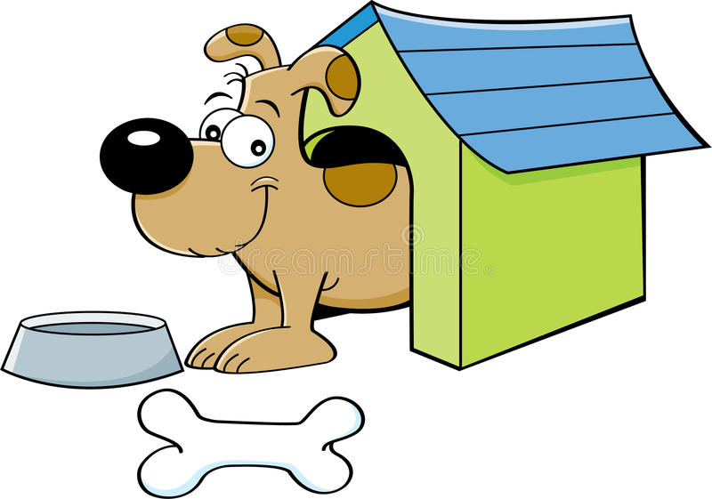 Cartoon dog in a doghouse. Cartoon illustration of a dog in a doghouse