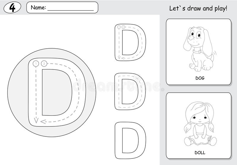 Cartoon dog and doll. Alphabet tracing worksheet: writing A-Z an. Cartoon dog and doll. Alphabet tracing worksheet: writing A-Z, coloring book and educational stock illustration
