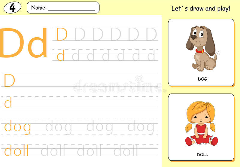 Cartoon dog and doll. Alphabet tracing worksheet: writing A-Z. Coloring book and educational game for kids royalty free illustration