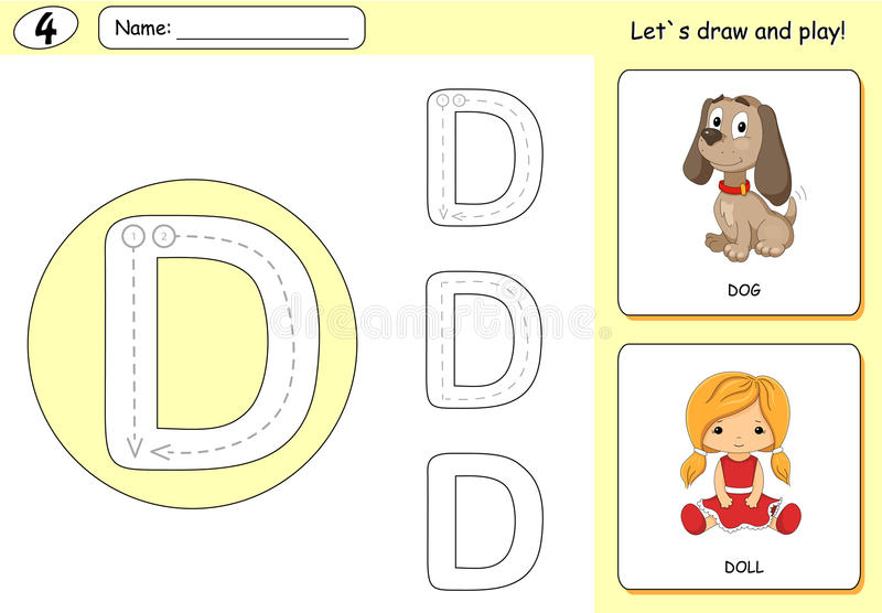 Cartoon dog and doll. Alphabet tracing worksheet: writing A-Z. Coloring book and educational game for kids vector illustration