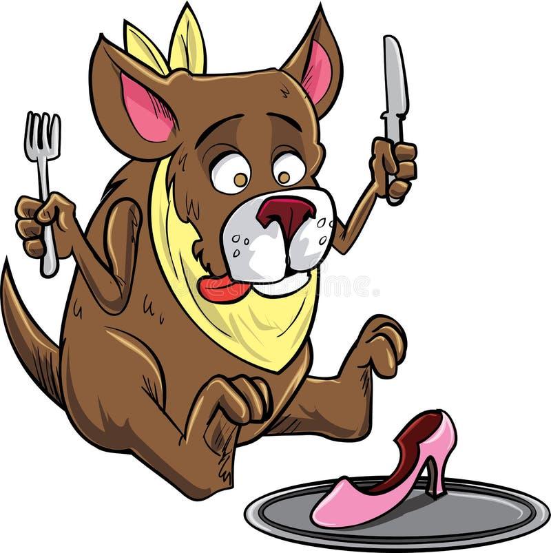 Cartoon dog eating a shoe stock illustration