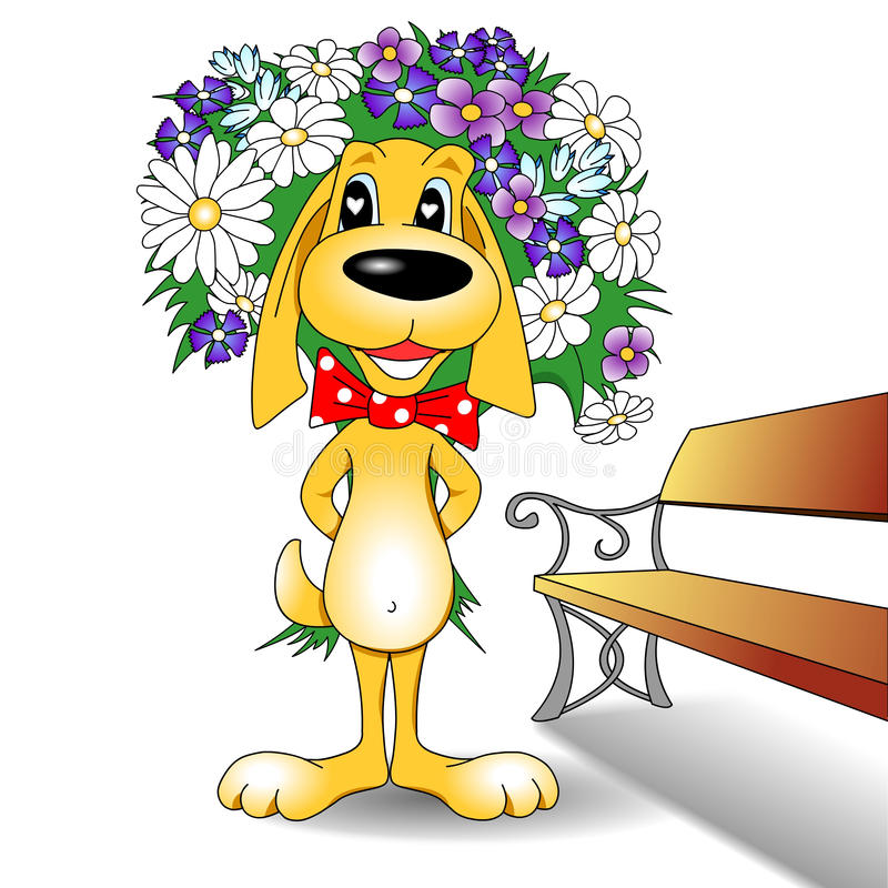Cartoon Dog and Flower Bouquet. Cartoon dog with bow tie and bouquet of flowers standing next to a park bench vector illustration