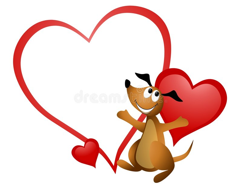 Cartoon Dog Heart Valentine. An illustration featuring a cartoonish dog smiling in front of blank heart valentine vector illustration
