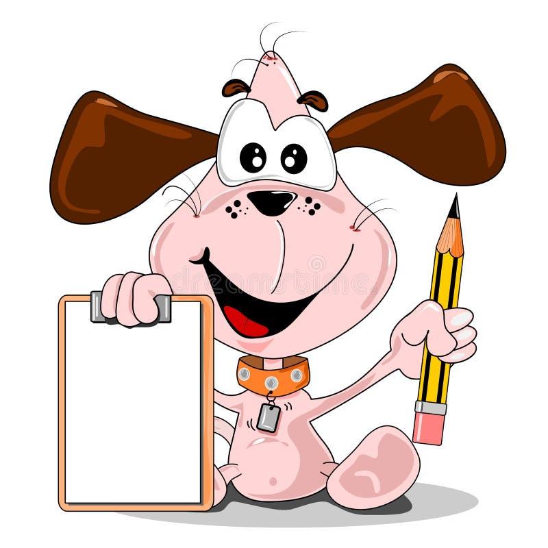 A cartoon dog holding ablank clipboard stock illustration