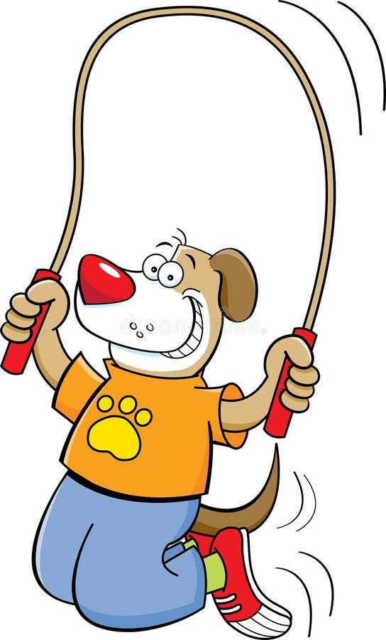 Cartoon dog jumping rope vector illustration
