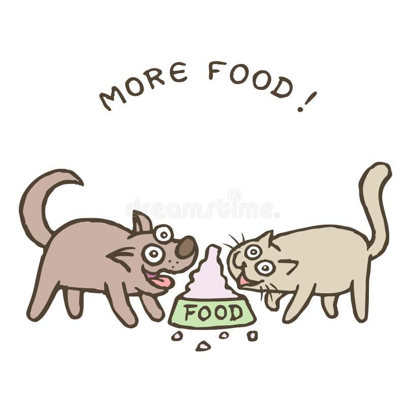 Cartoon dog Kik and cat Tik run to a huge bowl with a bunch of food. vector illustration stock photos