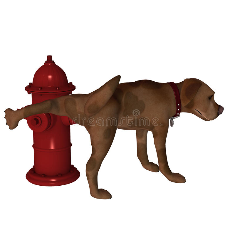 Cartoon Dog - Leg Lift over Fire Hydrant. A cute little cartoon dog lifting his leg over a fire hydrant. Isolated stock illustration