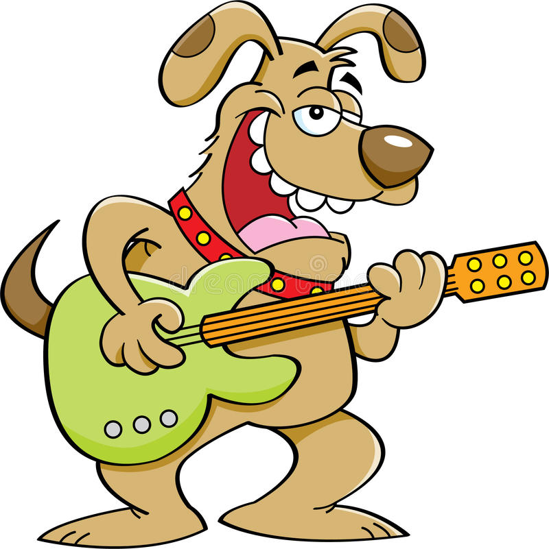 Free Cartoon Dog Playing A Guitar Stock Photography - 36001292