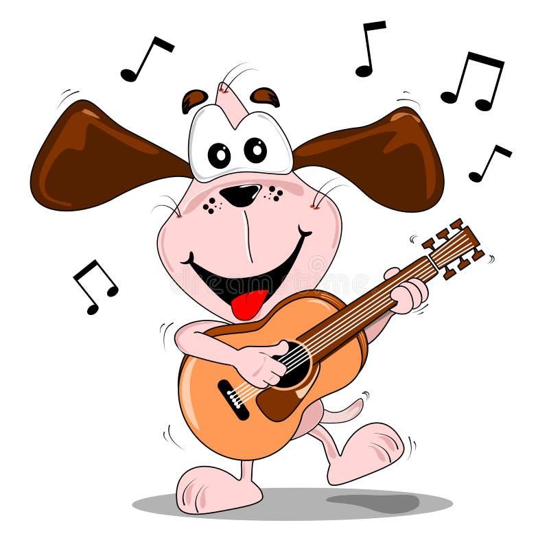 A Cartoon Dog Playing A Guitar Stock Photos
