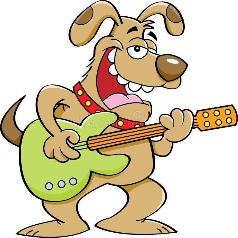 Cartoon dog playing a guitar. Cartoon illustration of a dog playing a guitar