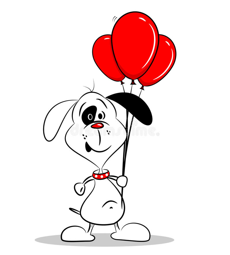 A Cartoon Dog With Red Balloons Royalty Free Stock Image