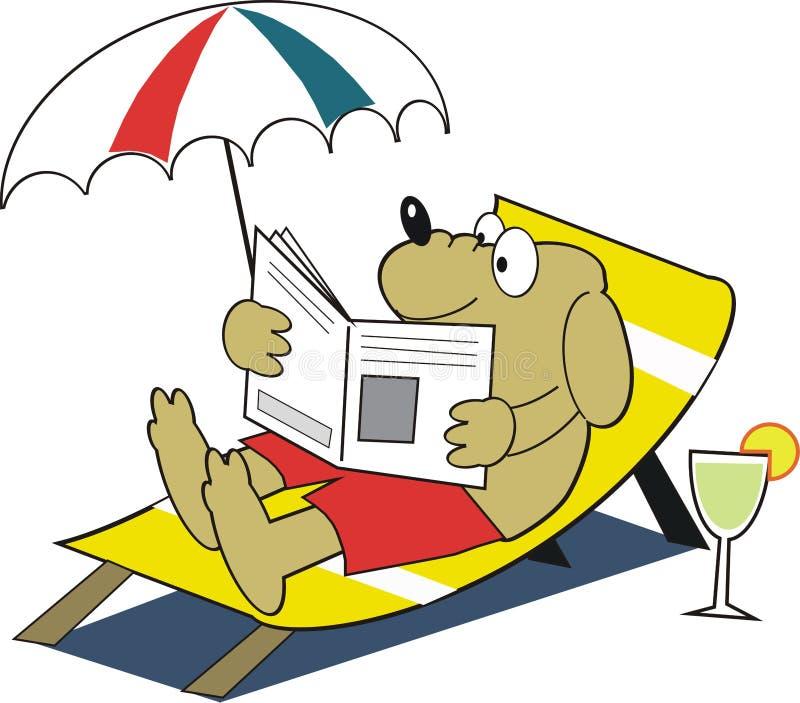 Cartoon dog relaxing in deckchair. Cartoon of dog relaxing on deckchair reading newspaper with beverage handy stock illustration