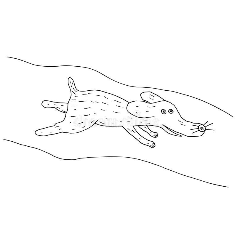 Cartoon dog running along the street. Cartoon hand drawn vector vector illustration