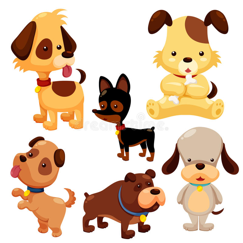 Cartoon dog set vector illustration