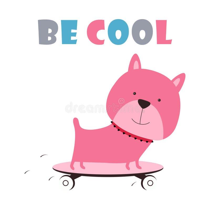 Cartoon dog on skateboard stock illustration