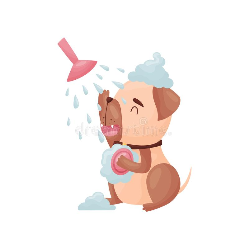 Cartoon dog washes in the shower. Vector illustration on white background. royalty free illustration