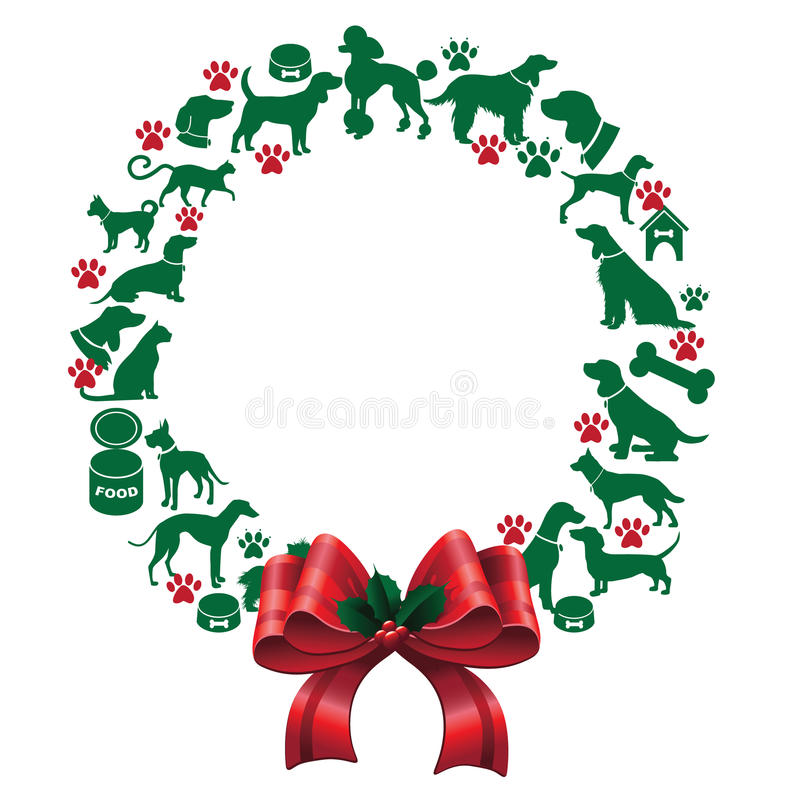 Free Cartoon Dogs And Cats Christmas Wreath Royalty Free Stock Photo - 44410845