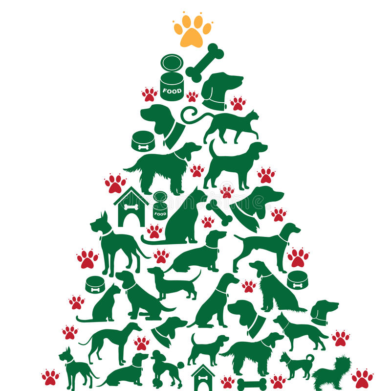 Cartoon dogs and cats Christmas tree stock illustration