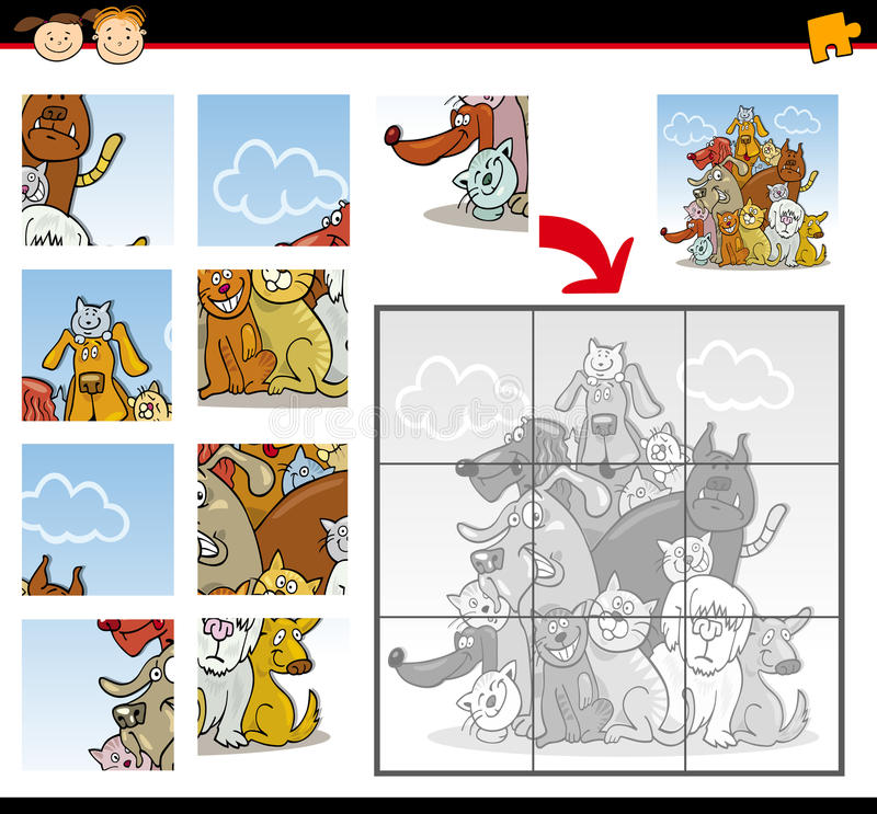 Cartoon dogs and cats jigsaw puzzle game stock illustration