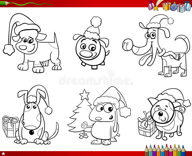 Download Cartoon Dogs On Christmas Set Coloring Book Stock Vector