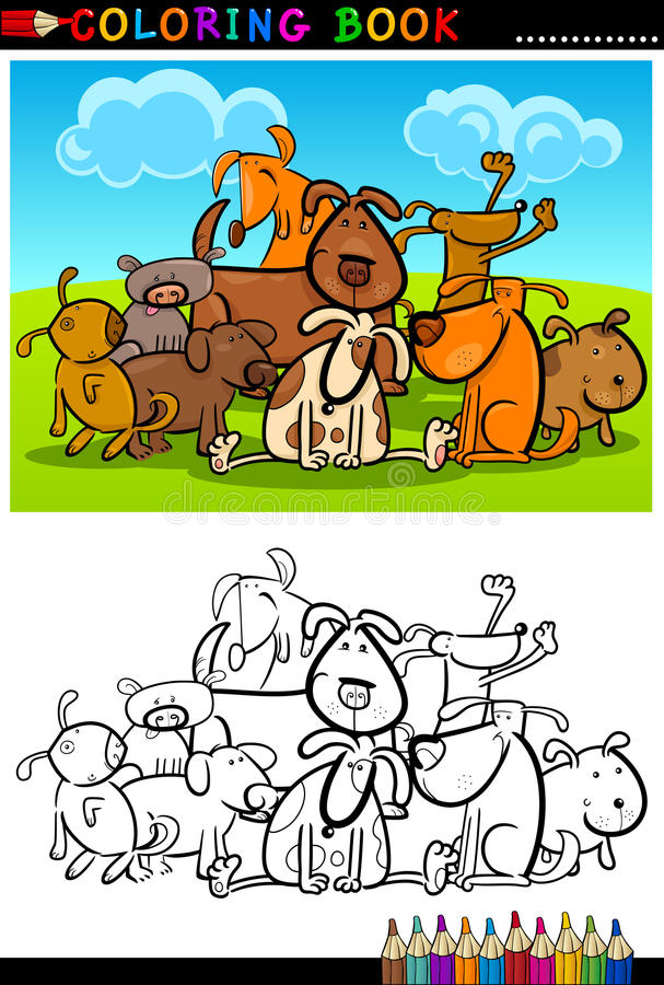 Cartoon Dogs for Coloring Book or Page vector illustration
