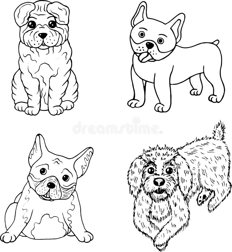 Download Cartoon Dogs Coloring Page Isolated Set Collection With Doodle Stock Vector