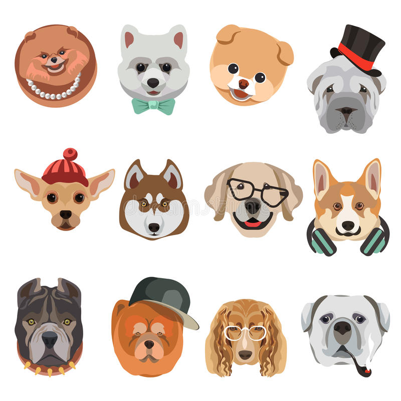 cartoon dogs and hipster puppy face muzzles vector icons stock rh dreamstime com cartoon dog face droopy cartoon dog facing forward