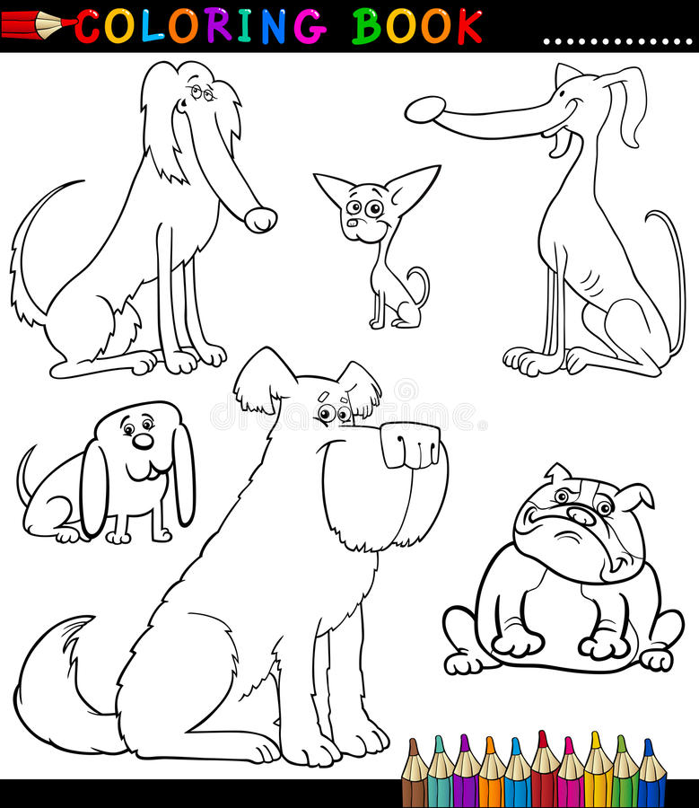 Download Cartoon Dogs Or Puppies For Coloring Book Stock Vector - Image: 28258774