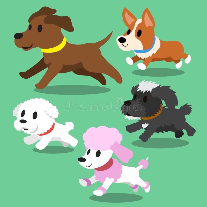 Cartoon dogs running. For design vector illustration
