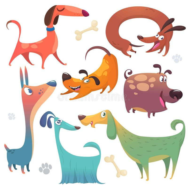 Cartoon dogs set. Vector illustrations of dogs collections. Colorful images of dogs stock illustration