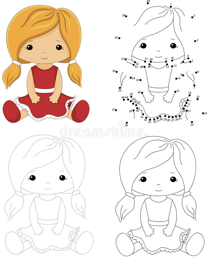 Free Cartoon Doll In A Red Dress. Dot To Dot Game For Kids Stock Image - 71007591