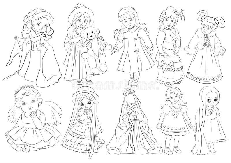 Cartoon dolls coloring book royalty free illustration