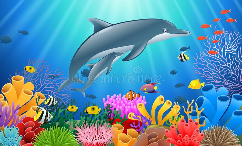 Cartoon dolphin with Coral stock illustration