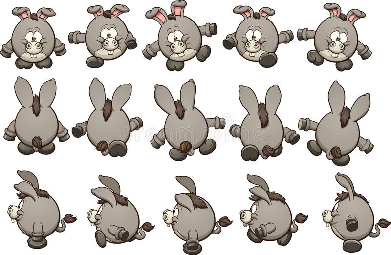 Cartoon donkey. Sprites ready for animation. Vector clip art illustration with simple gradients. Each on a separate layer royalty free illustration