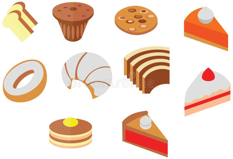 Cartoon doodle color cafe cookie cake cute dessert flat icon royalty free illustration