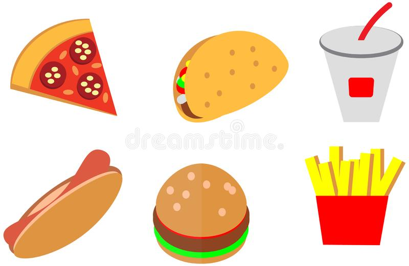 Cartoon doodle color flat fast food icons design cafe menu vector illustration
