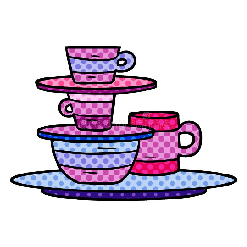 Cartoon doodle of colourful bowls and plates. A creative illustrated cartoon doodle of colourful bowls and plates stock illustration