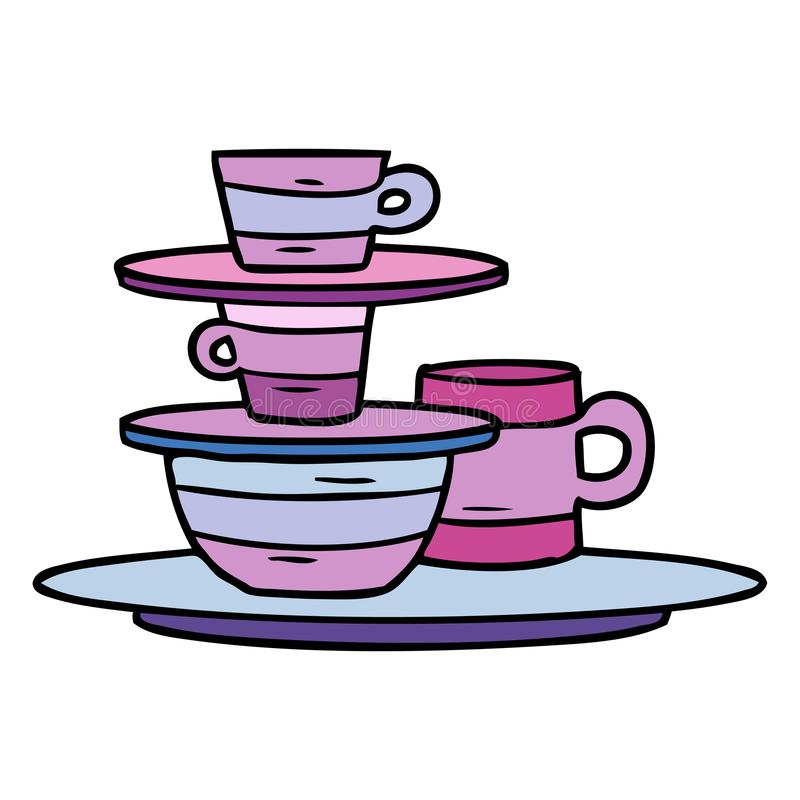 Cartoon doodle of colourful bowls and plates. A creative illustrated cartoon doodle of colourful bowls and plates vector illustration