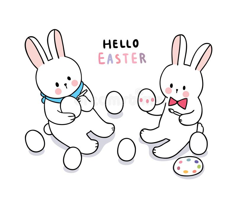 Cartoon cute Easter day rabbits painting colorful eggs . stock photography