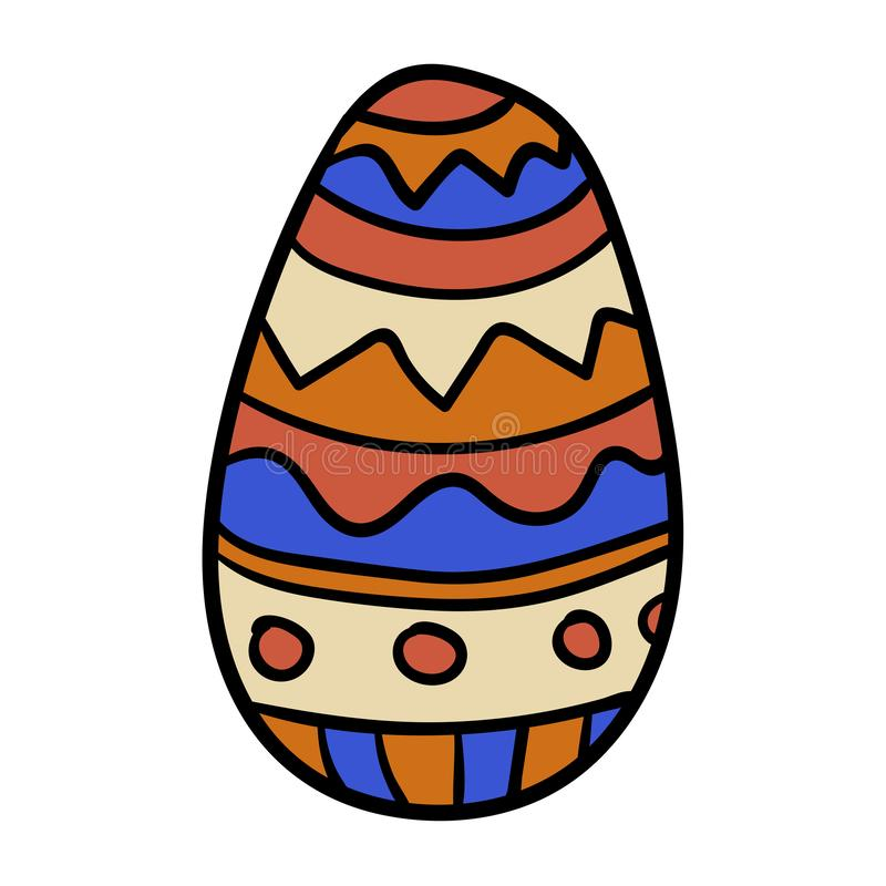 Cartoon, doodle Easter egg with ornament isolated. On white background. Vector illustration royalty free illustration