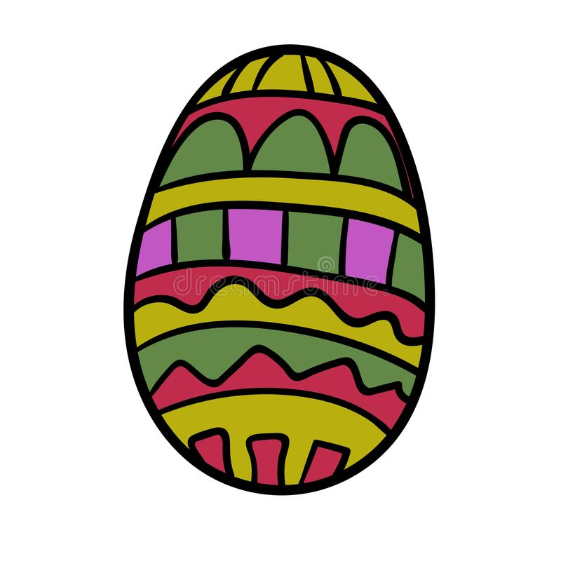 Cartoon, doodle Easter egg with ornament isolated. On white background. Vector illustration stock illustration