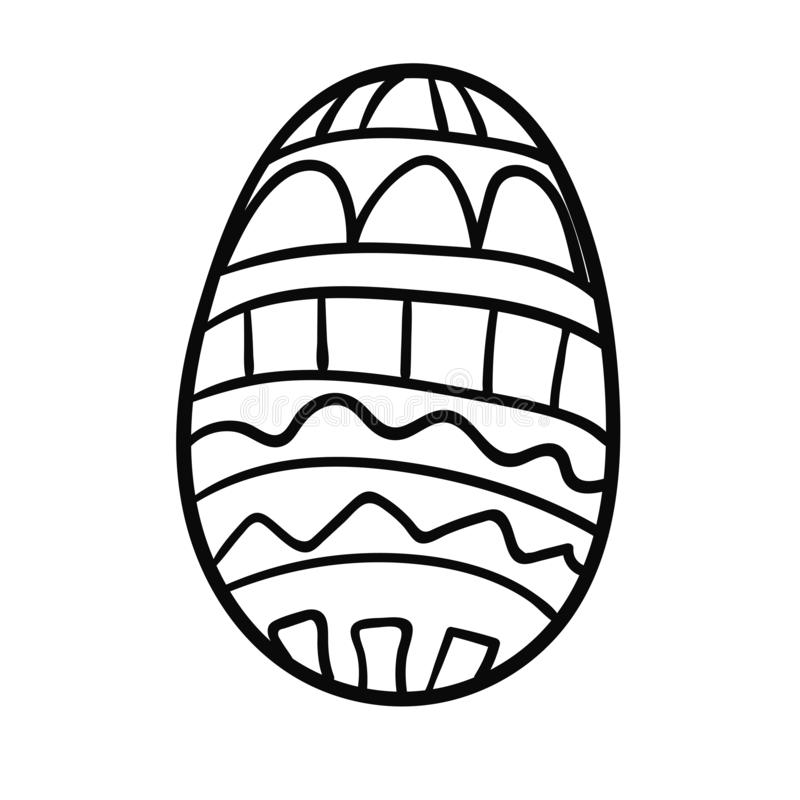 Cartoon, doodle Easter egg with ornament isolated on white. Background. Vector illustration royalty free illustration