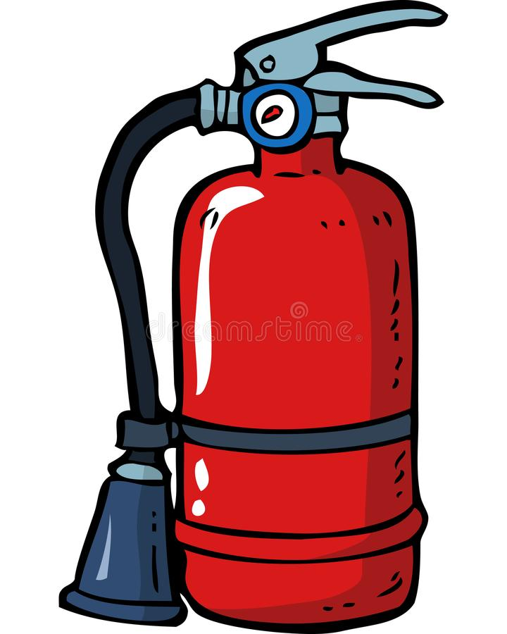 Doodle fire extinguisher. Cartoon doodle fire extinguisher on a white background vector illustration stock illustration