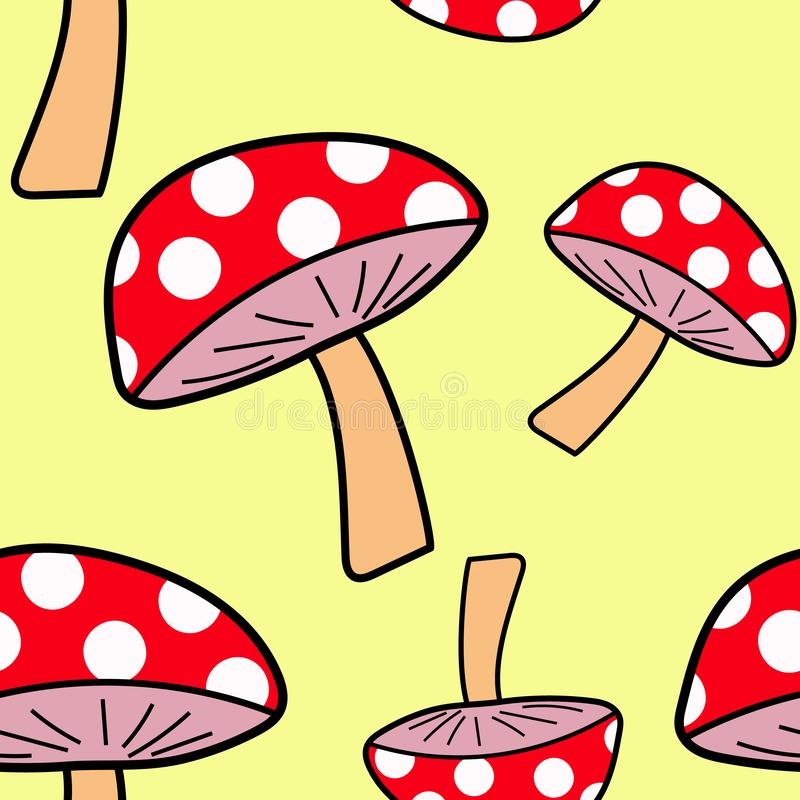 Cartoon doodle hand-drawn mushroom toadstool seamless pattern. Over a yellow background royalty free illustration