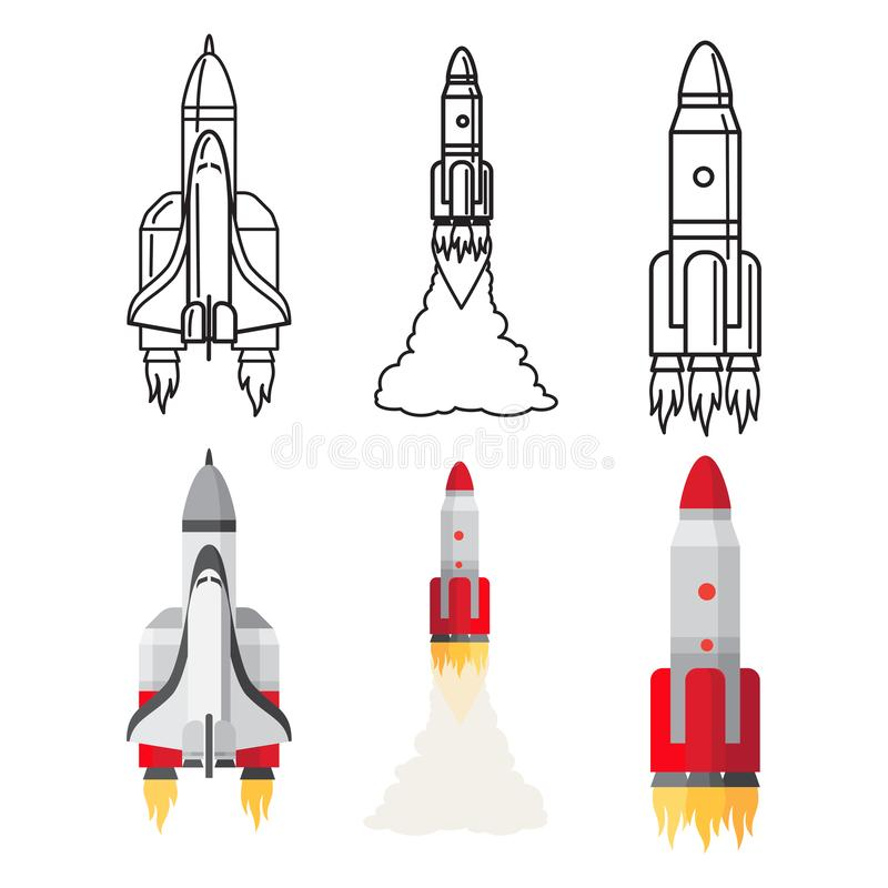Cartoon and doodle line space rockets set vector illustration stock illustration