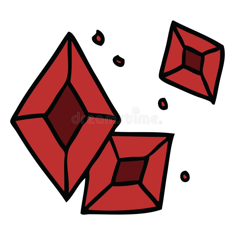 Cartoon doodle of some ruby gems. A creative illustrated cartoon doodle of some ruby gems royalty free illustration